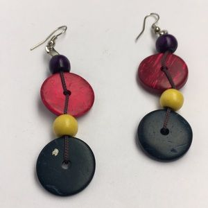 Multicolored Terracotta Clay Button Earrings